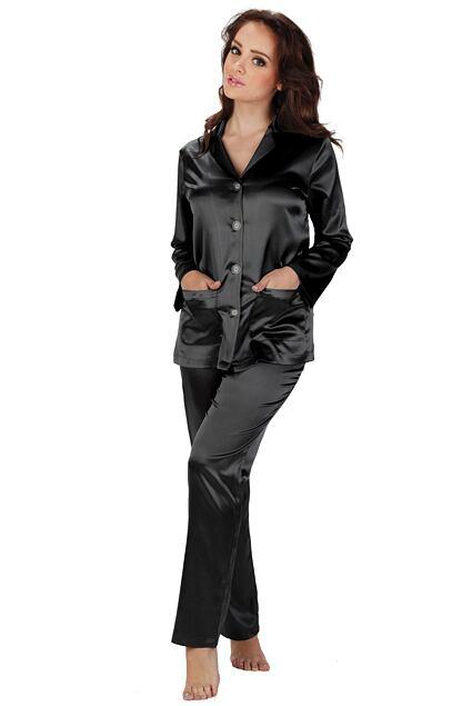 Pijama de damă din satin Classic lungă neagră