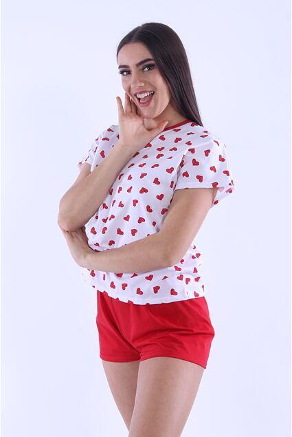 Pijama de damă Lada 3 inimi roșii