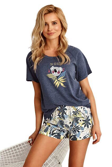 Pijama de damă Aurelia albastru închis cu koala