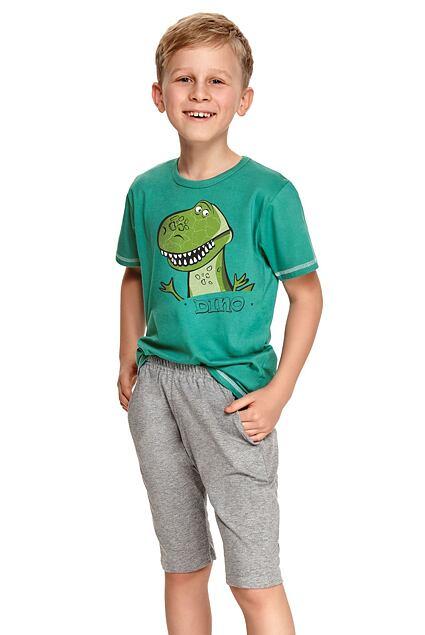 Pijama pentru băieți Alan verde închis cu dinozaur