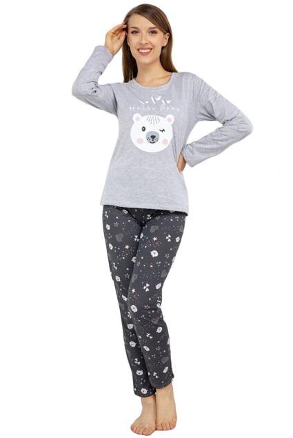 Pijama vesele Hello bear gri
