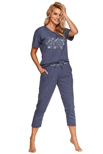 Pijama damă Alexa albastru închis cu flori