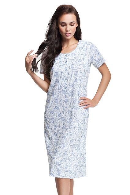 Cămașă de noapte Natalia albă cu model floral albastru