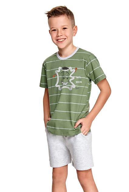 Pijama băieți Karlik verde cu dungi