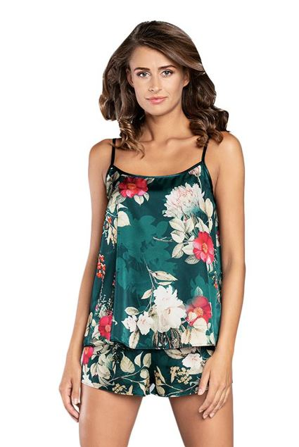 Pijama din satin verde Kreta cu flori