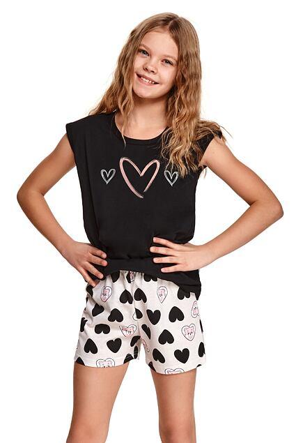 Pijama pentru fete Eva neagră cu inimi
