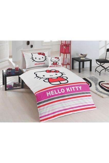 Lenjerie de pat pentru copii Matějovský Hello Kitty Stripe