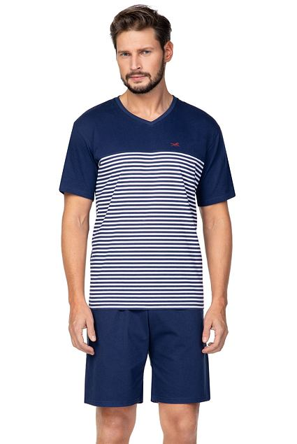 Pijama bărbați Matias albastru închis cu dungi