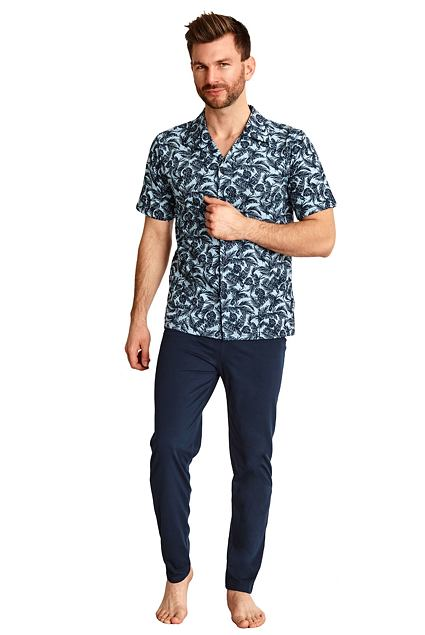 Pijama pentru bărbați Gracian albastră cu frunze